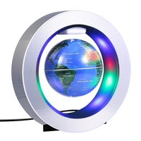 Home Decor 4 LED Accessories Decoration with Home Education Magnetic Gravity Anti Inch Levitation Light Teaching Globe