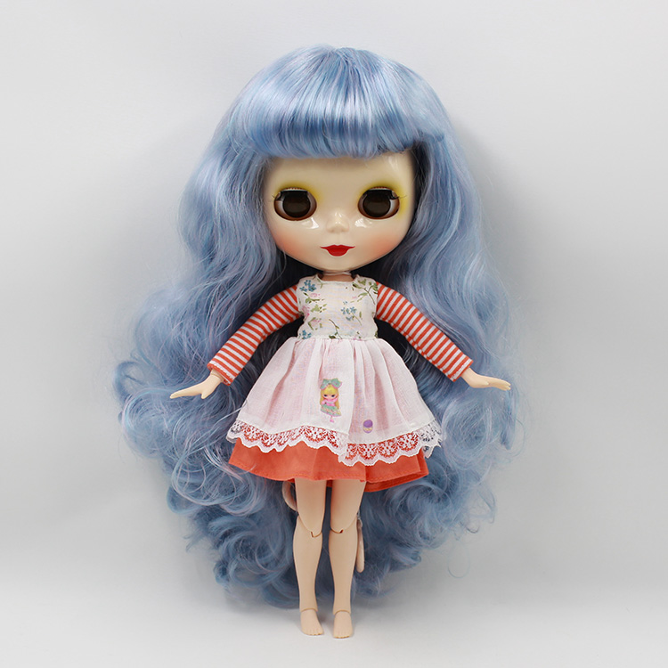 Blyth doll with joint body Blue long hair B female with four colors big eyes Nude bjd doll 12 fashion dolls for girls gifts 18 45cm hard body bjd sd brown hair blue or brown eyes baby doll lifelike ball joint doll for baby girls