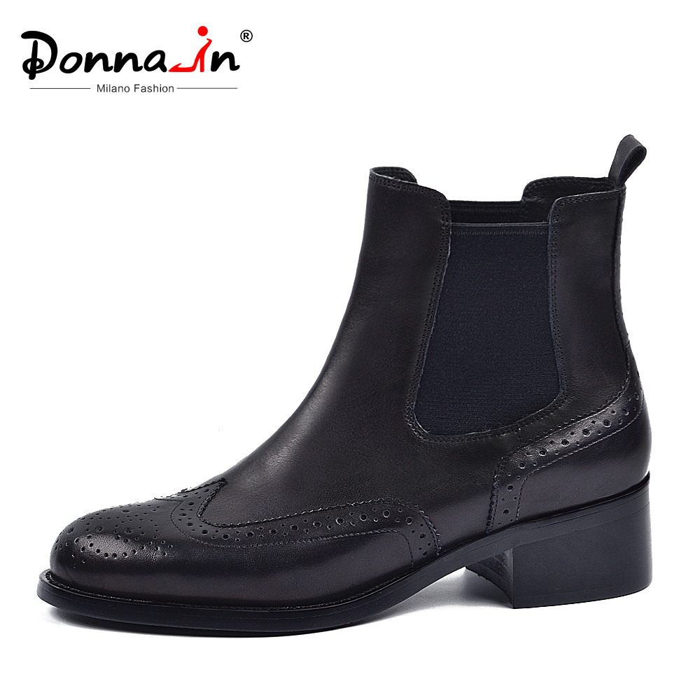 Donna-in Chelsea Ankle Boots Women Genuine Leather Shoes Winter Autumn Black Middle Heels Round Toe Brogue Ladies Boots 2019Donna-in Chelsea Ankle Boots Women Genuine Leather Shoes Winter Autumn Black Middle Heels Round Toe Brogue Ladies Boots 2019
