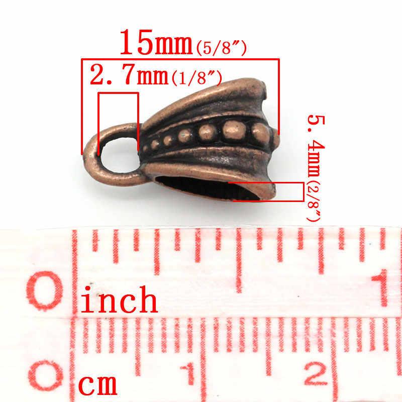 """ยุโรปสไตล์ Bails ลูกปัดทองแดงโบราณลายจุด 15 มิลลิเมตร (5/8 """") x 9.5 มิลลิเมตร (3/8 """"), 9 ชิ้น"""