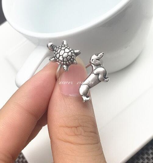 Старинное серебро ручной работы Колбаса Собака черепаха кольца черепаха такса двойной животных отверстие для Женская мода Jewelry подарки для...