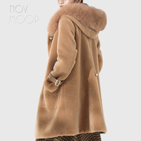Women winter camel 100% wool sheepskin shearling coat real fox fur hooded long outwear windbreaker patch pockets casacos LT2619