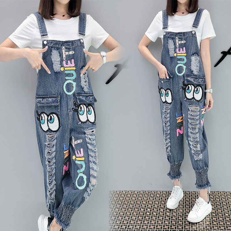 Minnie Mouse Costumes Cartoon Denim Hole Blue Slim Jeans Halen pants summer Beautiful lady fashion Loose leisure jeans Rompers