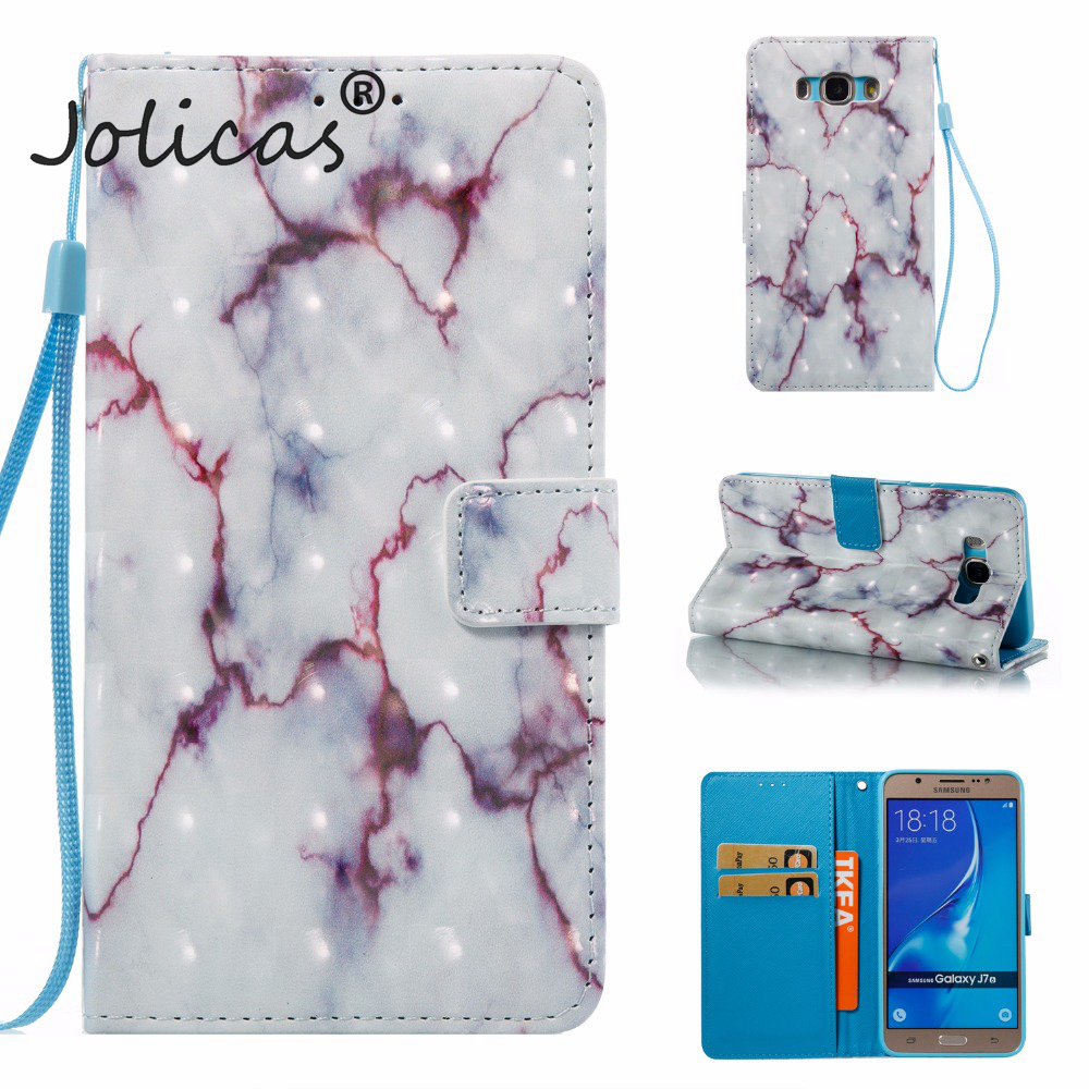 Wallet Case sFor coque Galaxy J7 2016 J710 Case Marble Vein For fundas Samsung Galaxy J7 2016 (6) Case Etui Telefoon Hoesjes