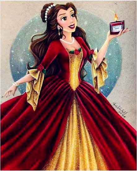 Christmas Belle Princess Gown Costume in red and Gold Red Belle Princess Costume From Beauty And The Beast Belle Cosplay Costume