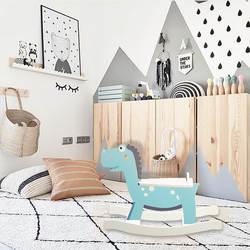 Скандинавский стиль панда динозавр качалка-лошадь деревянная детская качалка Подарочная лошадь игрушка для дома троянская лошадь подарок