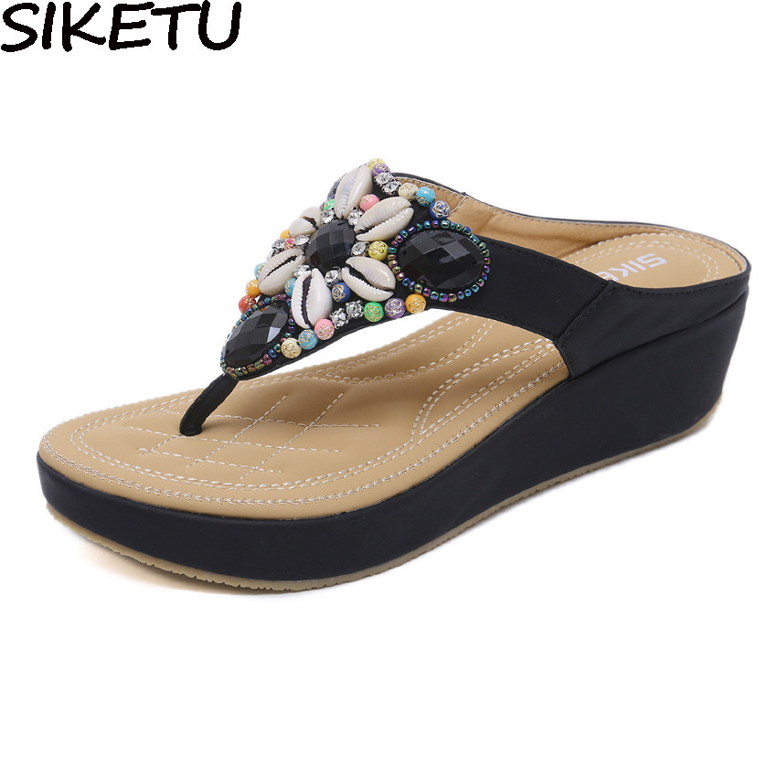 SIKETU 2018 Women Slippers Thong Flip Flop Summer Beach Wedge Shoes Bohemia  Ethnic Sheel Rhinestone Crystal fb0b544842a2