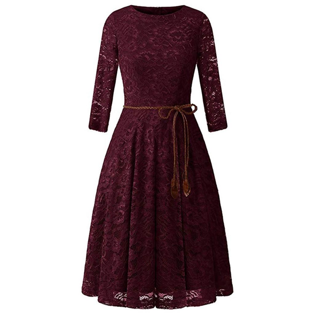 Женское винтажное кружевное платье, однотонные вечерние платья с длинным рукавом, элегантное блестящее женское платье-клеш до середины икр...