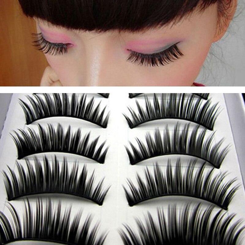 Bright 10pair Black Natural Long Thick False Eyelashes Fake Eye Lashes Makeup Individual Eyelash Extensions Eye Lashes Beauty & Health Beauty Essentials
