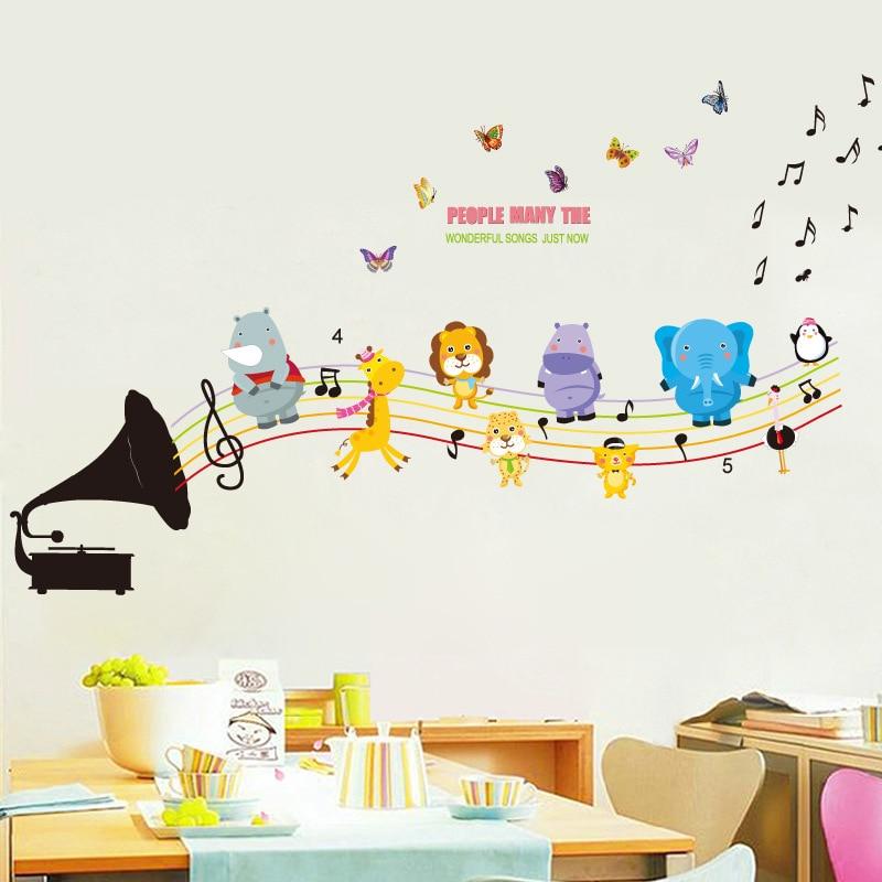 US $4.45 10% di SCONTO FAI DA TE Cartone Animale Note Musicali Adesivi  Murali Bambini Dell\'asilo Manifesti Musica Aula Camera Dei Bambini  Decorazione ...