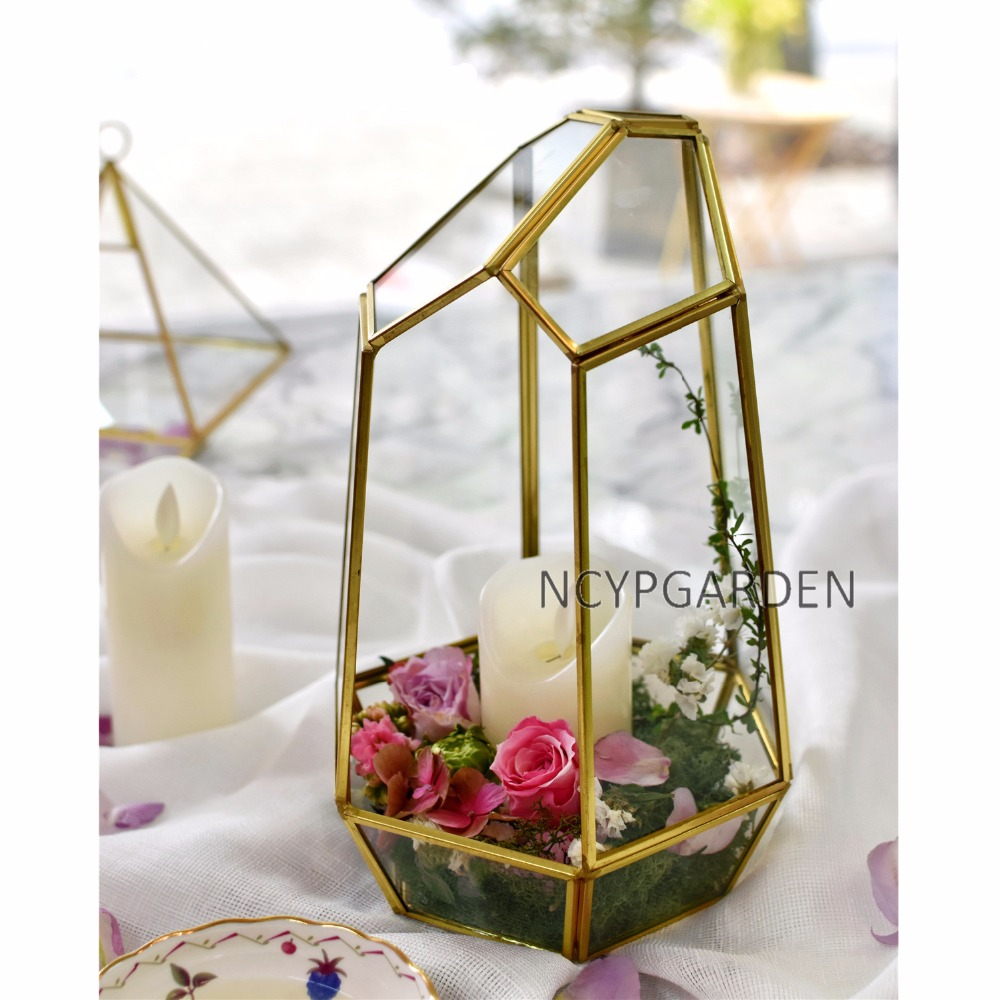 Copper Irregular Glass Geometric Succulent Plants Terrarium Box ...