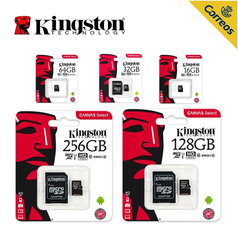 Kingston Technology Canvas Selecionar, 256 GB, 128 GB, 64 GB, 32 GB, 16GB MicroSDXC, Classe 10, UHS-I, 80 MB/s, Preto Cartão de Memória para o telefone Inteligente
