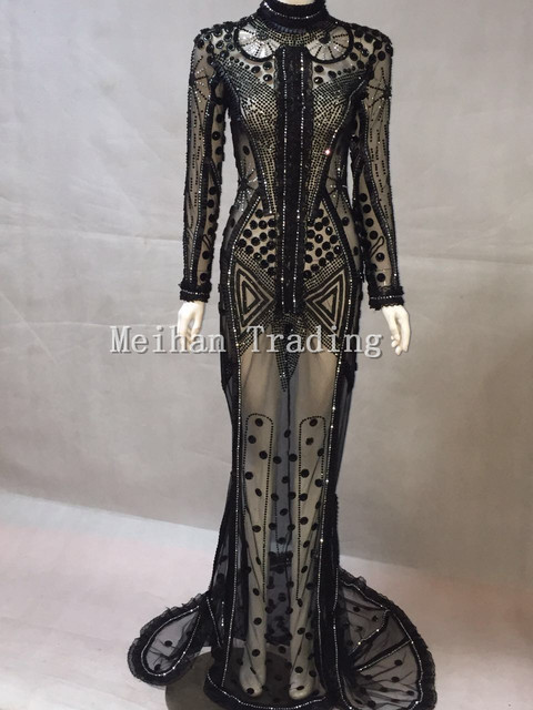 Luxury Black Rhinestones Lace Long Dress Sparkly Sexy Stage Wear Long Dresses Crystals Costume Prom Birthday Celebrate Dresses