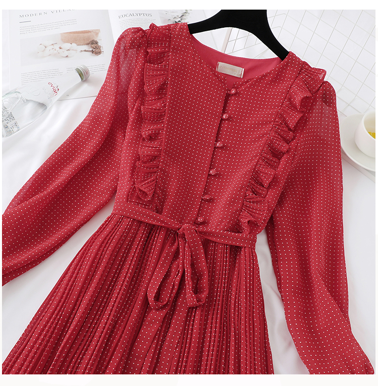 Trytree 19 Autumn Dress Vintage Dot Ruffles women Butterfly Sleeve Shirt Dresses Belt Mid-calf Empire A-line Pleated Hem Dress 8