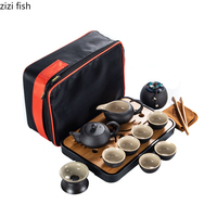 Chinese Style Ceramics Black Kung Fu Tea Set Suit One Teapot and Six Cups Carrying Case Travel Tea Set