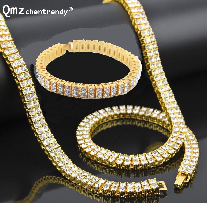 Men Hip Hop Gold Silver Bling 2 Two Rows Rhinestone Pharaoh Jewelry Sets Miami Cuban Chain 30