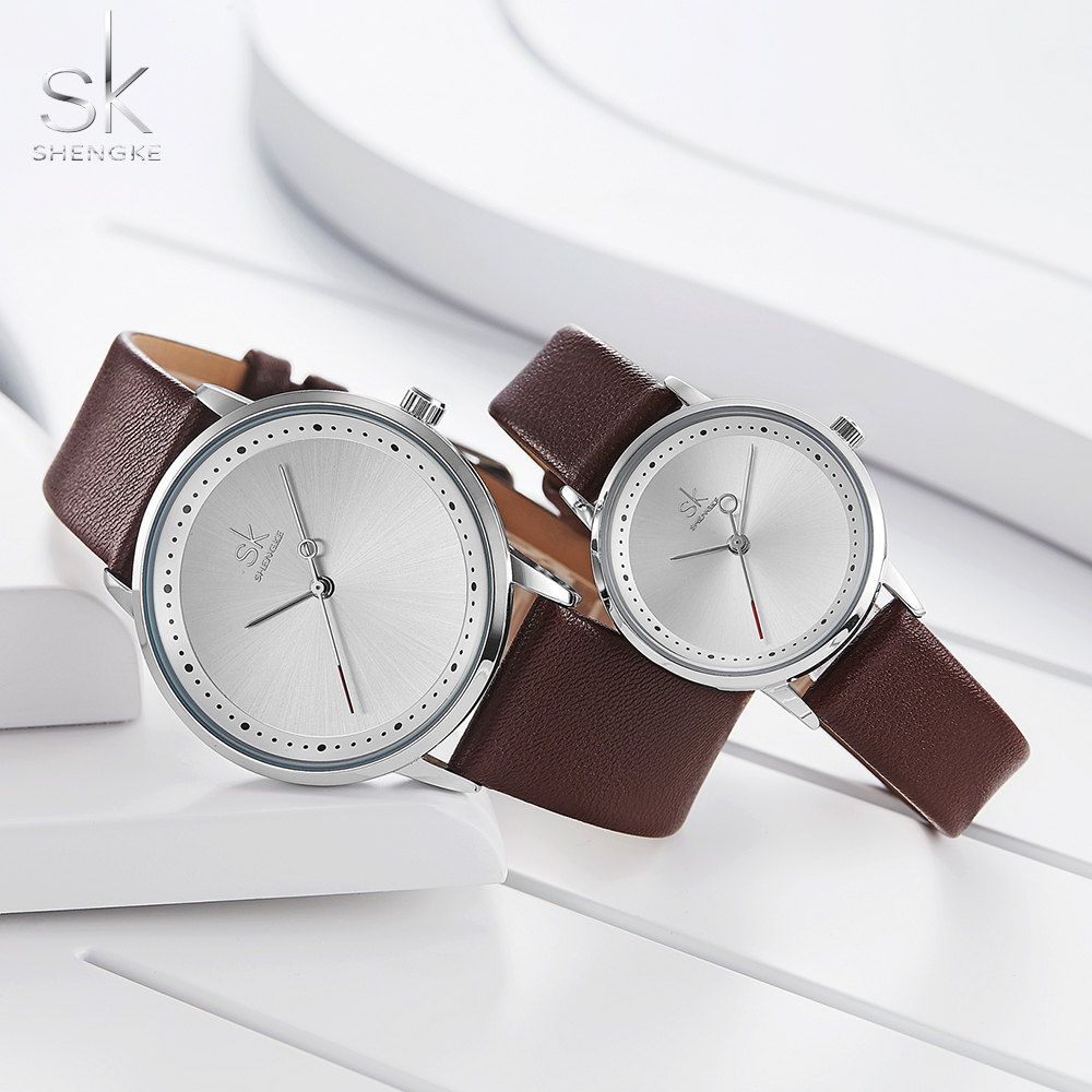 Shengke Fashion Lovers Couple Watches Leather Strap Women Wristwatch Man Watch Japanese Quartz Relogio Saat Reloj Montre Gift
