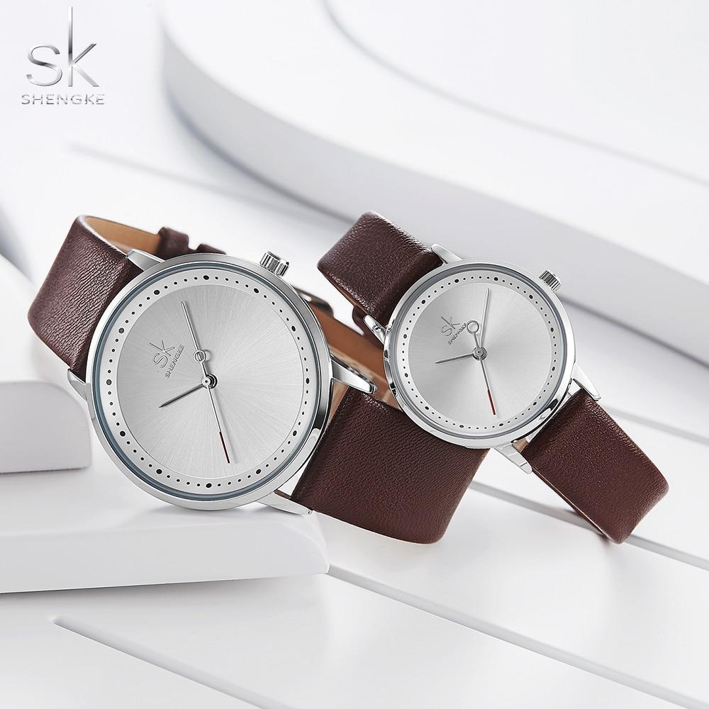 Shengke Fashion Lovers Couple Watches Leather Strap Women Wristwatch Man Watch Japanese Quartz Relogio Saat Reloj Montre Gift