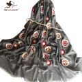 New Fringed Brim Oblong Scarf for Women Spring Autumn Oversized Flower Shawl Simple Design Soft Breathable Long Pashmina