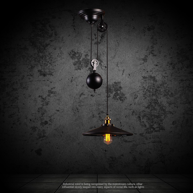 Industrial Rise And Fall Pendant Light: Popular Pulley Pendant Light-Buy Cheap Pulley Pendant