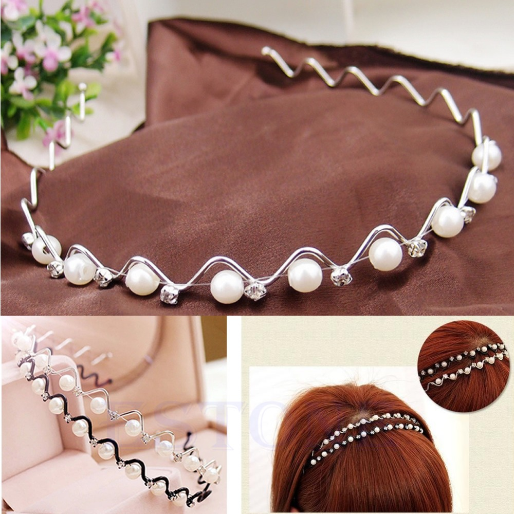 CKorean Fashion Rhinestone Imitation Pearl Wave Hairpin Hair Band Headband Accessories Hot selling WF32