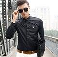 Мода Роскошные Рубашки Сплошной Цвет Длинным Рукавом Хлопок Тонкий Ель Рубашку для Мужчин Молодежный Бизнес Высокое Качество