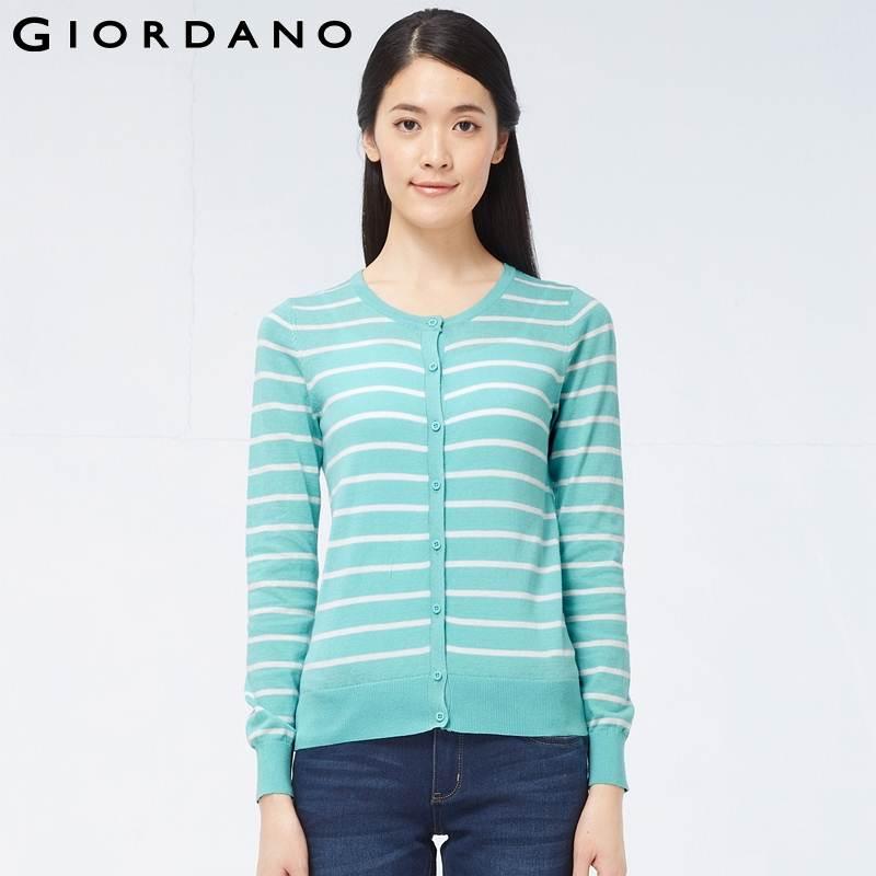 Aliexpress.com : Buy Giordano Women Cotton Striped Cardigan Womens ...