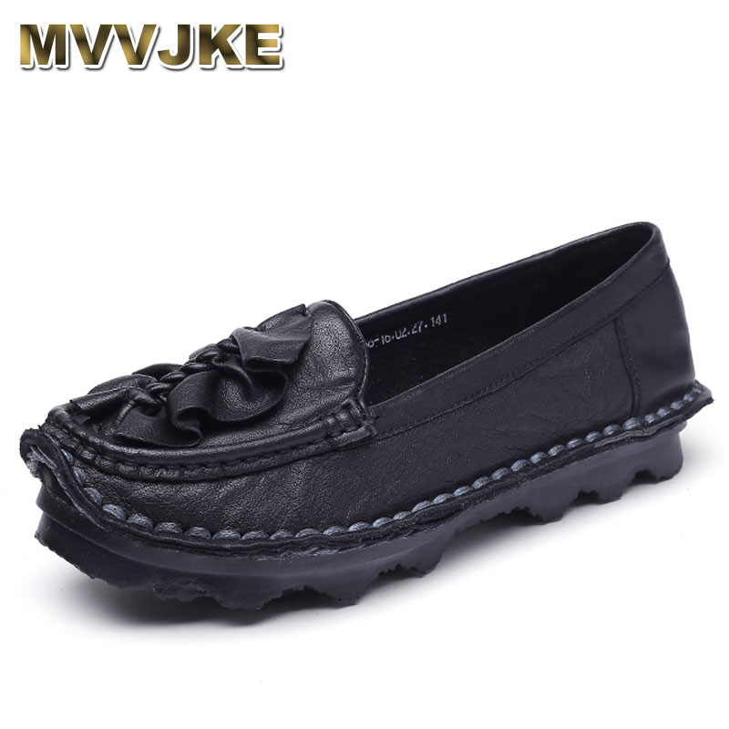 MVVJKE Loafers Women Shoes Handmade Casual Shoe Woman Genuine Leather Soft Flat Shoe Plus Size Autumn Driving Shoe Women Flats цена