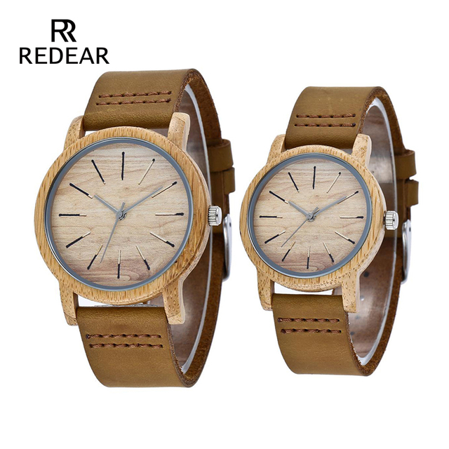 REDEAR Bamboo Watch For Love Luxury Wood Wristwatches With Genuine Cowhide Leath