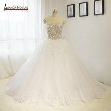 Puffy Rock Haut Farbe Tüll Voll Perlen Stunning Hochzeit Kleider NS1447