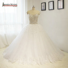 Puffy Skirt Skin Color Tulle Full Beads Stunning Wedding Dresses NS1447