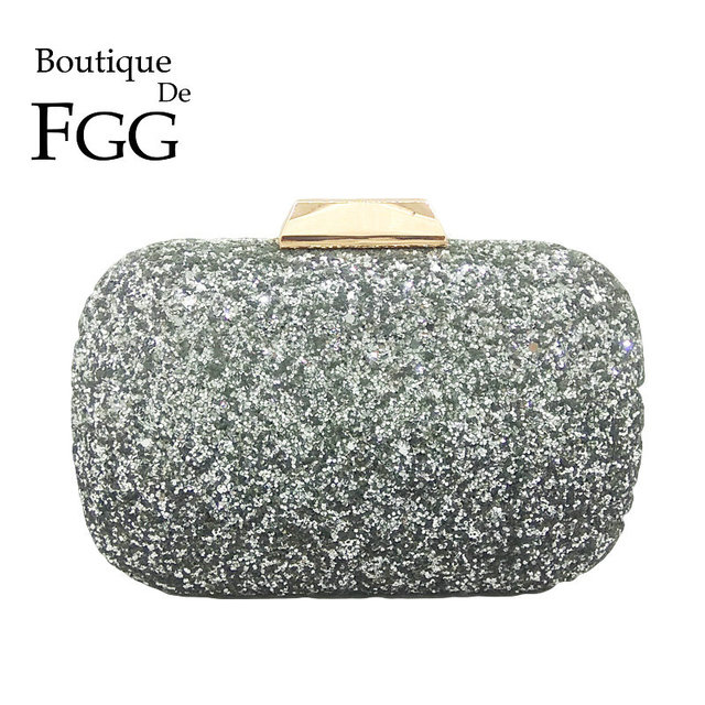 Boutique De FGG Gradient Color Silver Glitter Women Day Clutches Evening  Bags Metal Wedding Party Clutch e1cb6cd37026