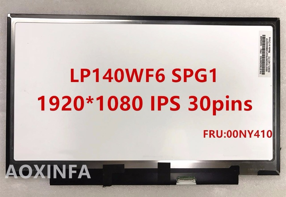 Free shipping B140HAN01.8 LP140WF6-SPG1 30pin 1920*1080 IPS For Lenovo X1 YOGA LCD screen FRU 00NY410  free shipping 100% tested well befor sending 12 5 laptop lcd led screen ips 1920 1080 lp125wf2 sp b1 for lenovo x240