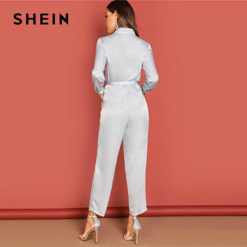 SHEIN gris botón frontal cintura cinturón cuello mono Casual liso manga larga Highstreet mujeres otoño Elegante ropa de trabajo monos