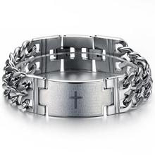 21cm long 22.5mm wide the new jewelry priced at direct silver/gold/black stainless steel cross Bracelet&Bangles for men