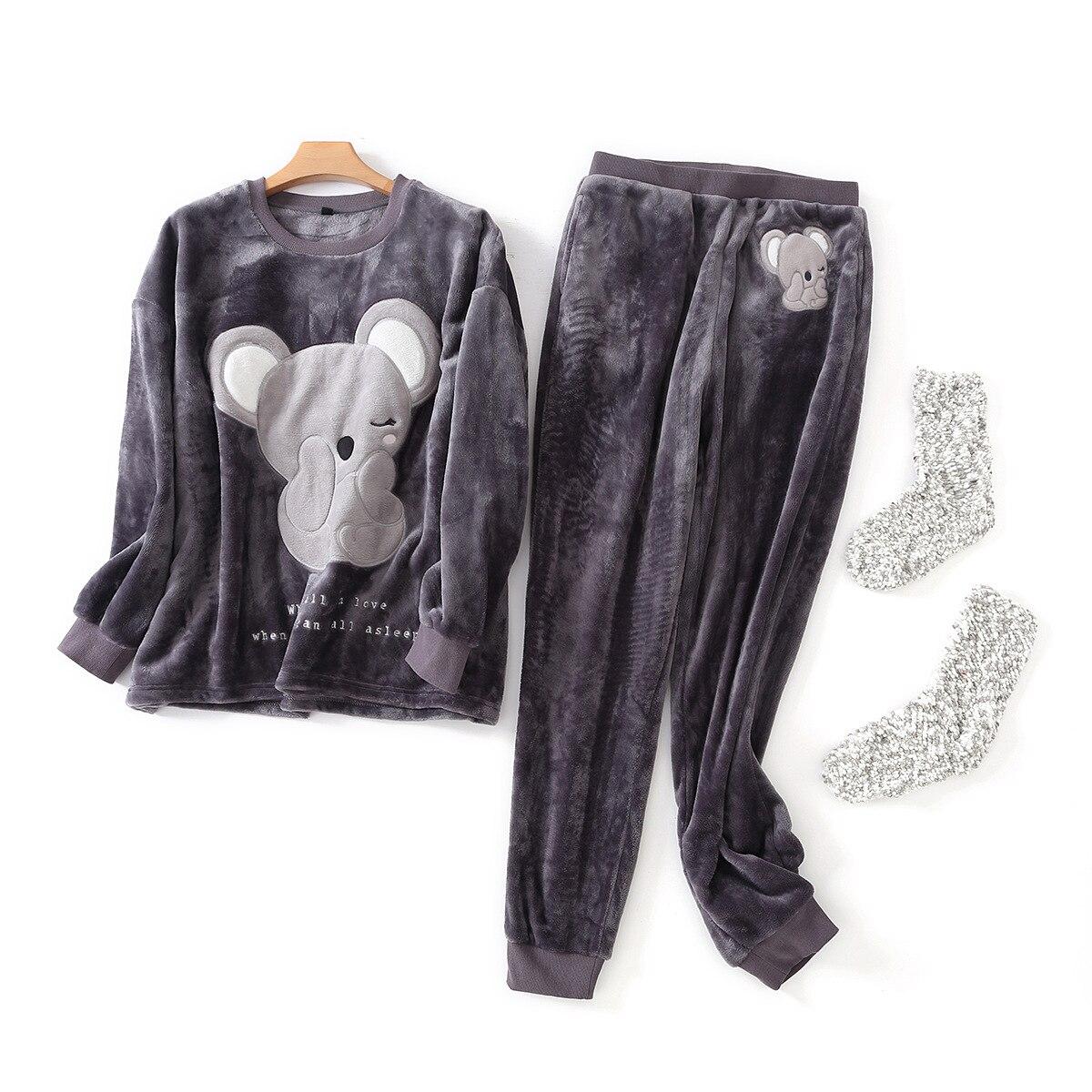 Winter keep warm kawaii koala   pajamas     sets   women cute cartoon Coral fleece flannel long sleeve sleepwear for women pijamas