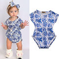 Infant Newborn Baby Floral blue and white china Short Sleeve Bebes Girls Romper Jumpsuit One Pieces Outfits