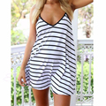 Newest Women Summer Dress 2017 Fashion Casual Striped Sexy Spaghetti Strap Sleeveless Short Beach Dress Plus Size