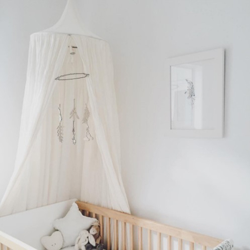 Cotton 4 Colors Hanging Kids Baby Bedding Dome Bed Canopy Mosquito Net Bedcover Curtain For Baby Kids Playing Home Klamboe