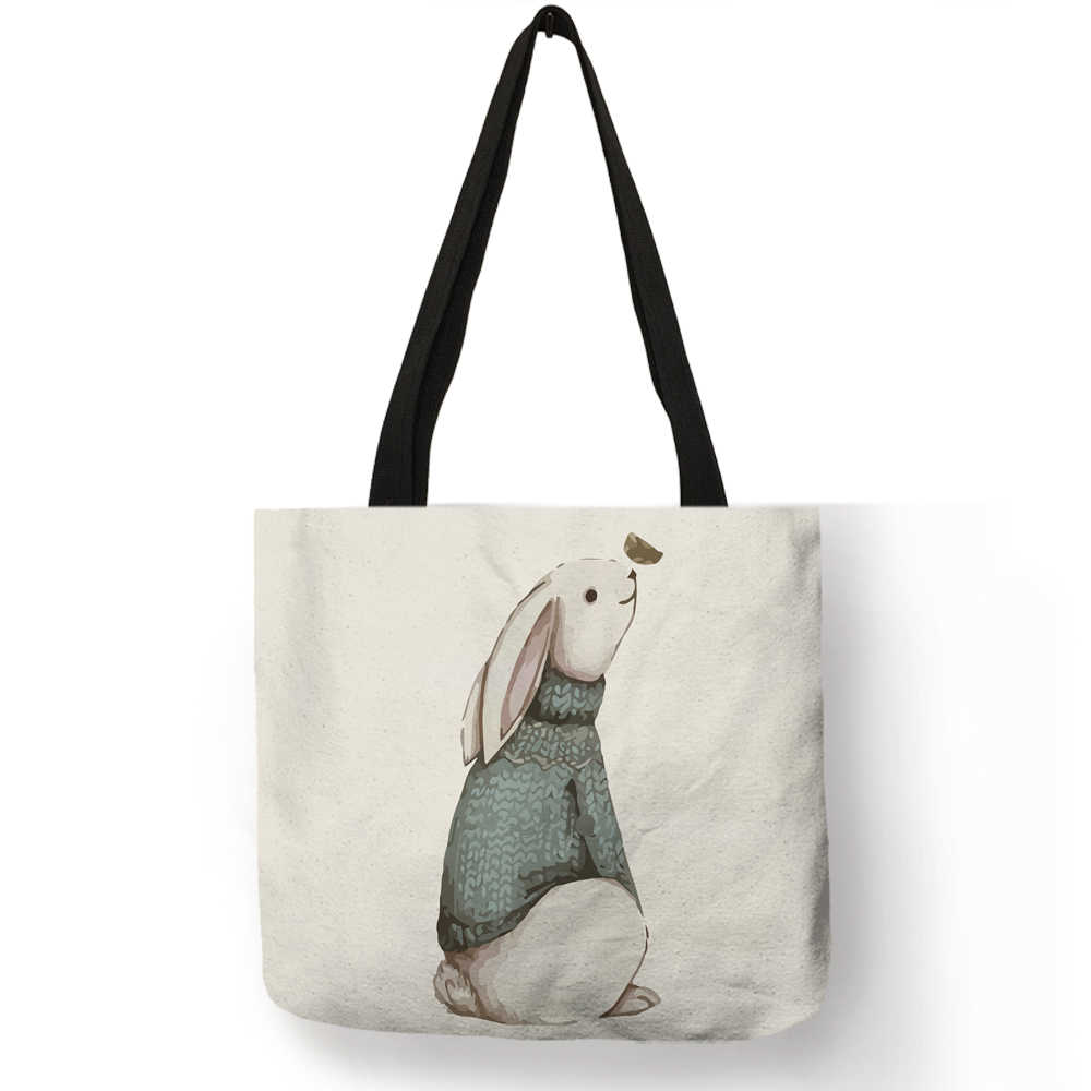 ceed23eab ... Nordic Animal Reusable Shopping Bag Bulldog Deer Print Linen Tote Bags  For Women Lady School Shoulder ...