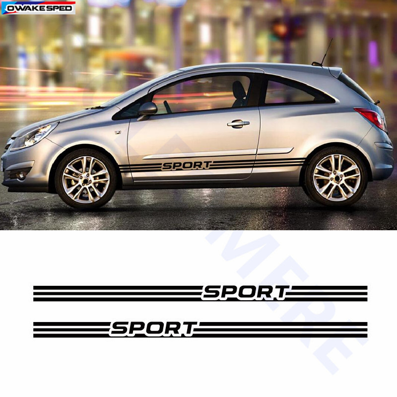 For Opel Corsa Sport Graphics Side Skirt Stripes Car Door