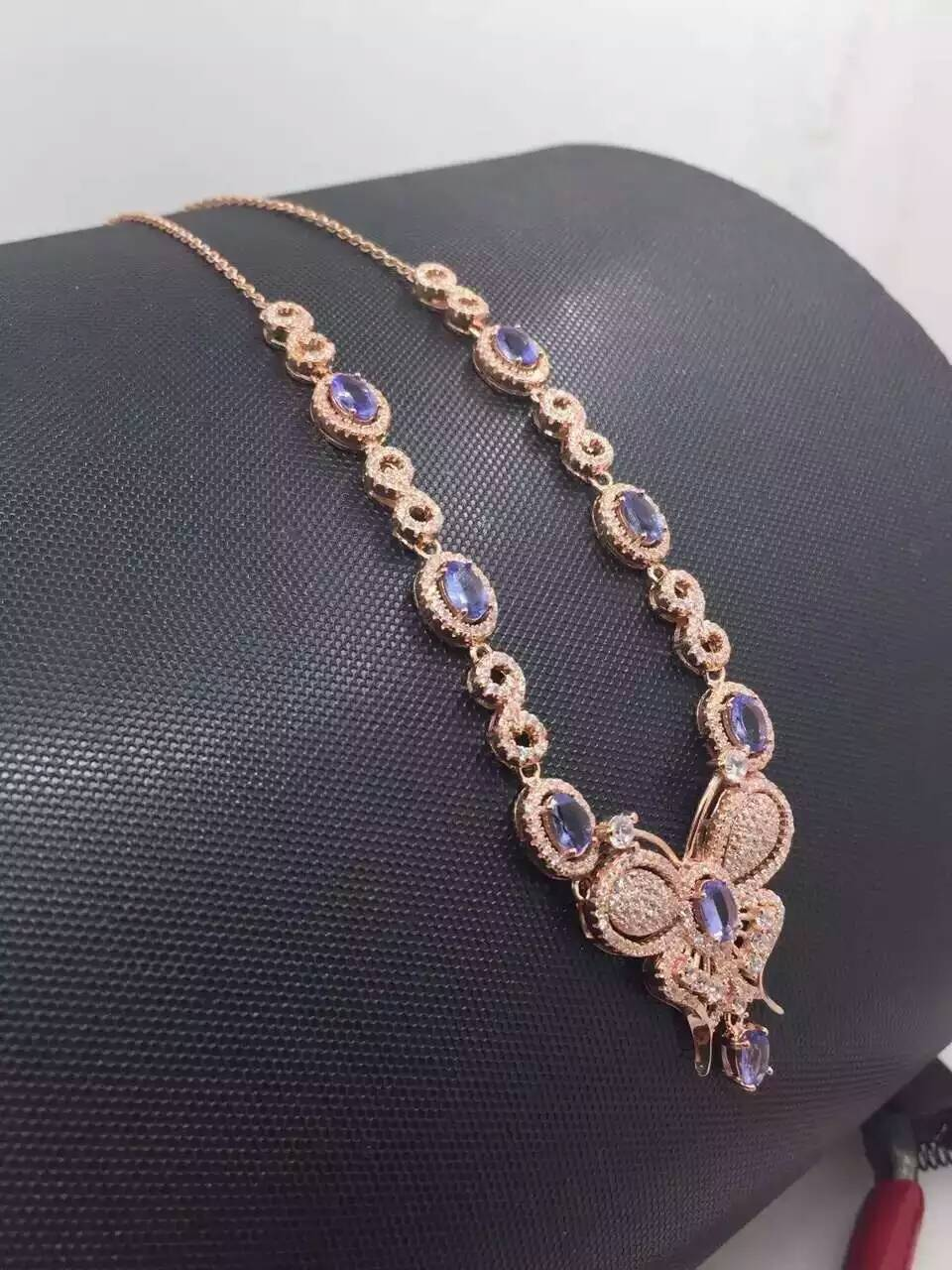 Natural blue tanzanite Necklace Natural Gemstone Pendant Necklace S925 sliver women Luxury trendy Elegant but party fine Jewelry
