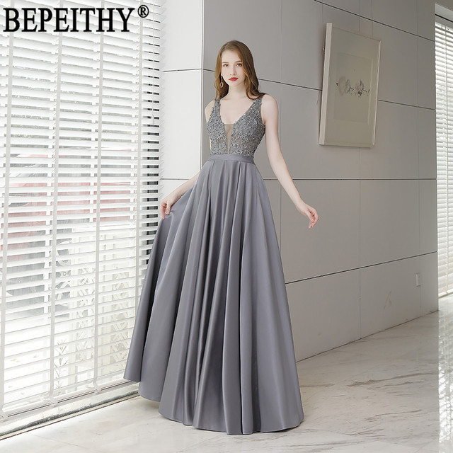 BEPEITHY Vestido De Festa New Arrival V-Neck Appliques Beads Ladies Party Gown Long Evening Dresses 2019