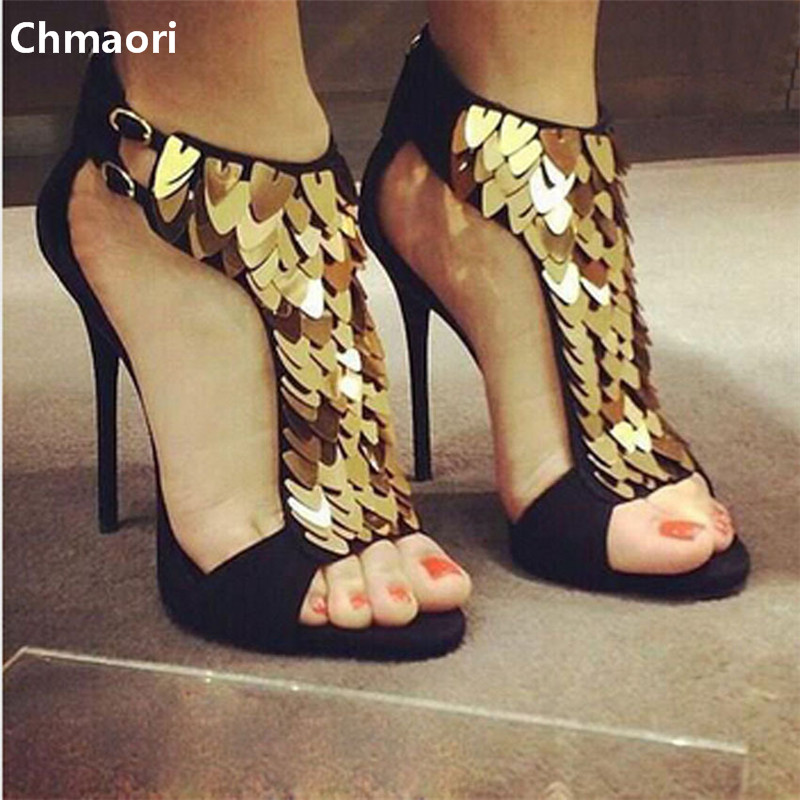 2015 hot selling gold sequined suede leather high heel gladiator sandals high quality shinning dress shoes 2017 summer hot selling red balck suede leather t strap high heel sandals charming detailed studs sequined high heel sandals