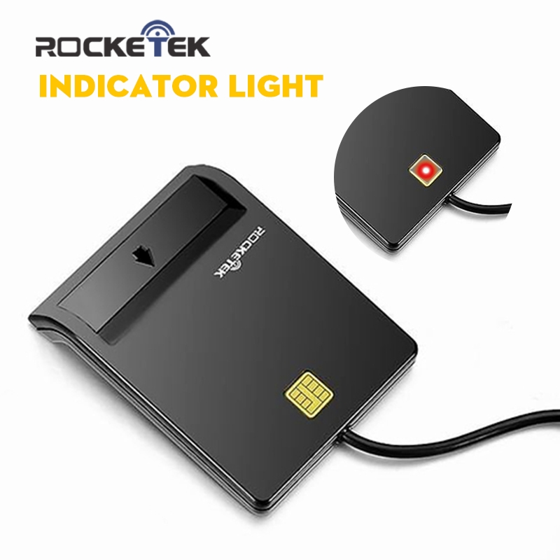 Rocketek USB 2.0 Smart Card Reader cac,ID,Bank card,sim card cloner connector cardreader adapter pc computer laptop accessories 1