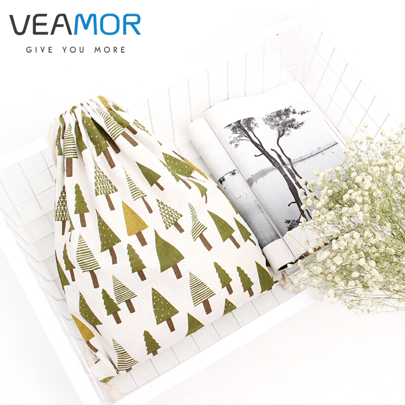 VEAMOR Brand Girls Shoes Bags Canvas Shoulder Bags Christmas Tree Drawstring Women Travel Package Shoes Storage Bags WB938
