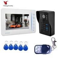Yobang безопасности Бесплатная доставка Новый 7 ЖК дисплей дома Видеодомофоны Дверные звонки телефон Системы с 2 белый Мониторы + 5 rfid карты reader