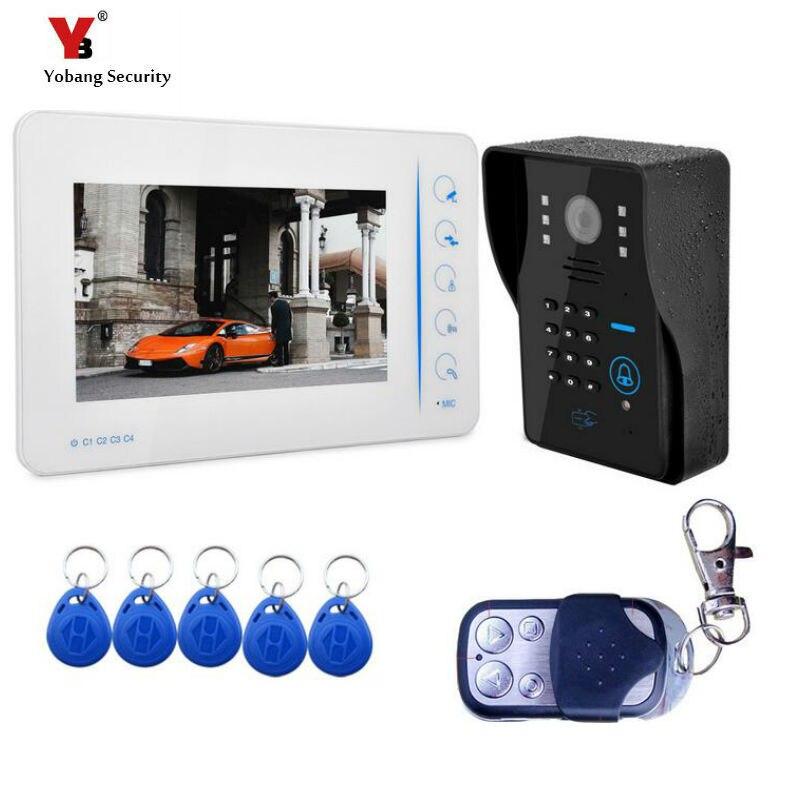 Yobang Sécurité Freeship NOUVEAU 7 LCD Home Video Intercom Sonnette téléphone Système Avec 1 Blanc Moniteur + 5 RFID lecteur de carte Porte cloche