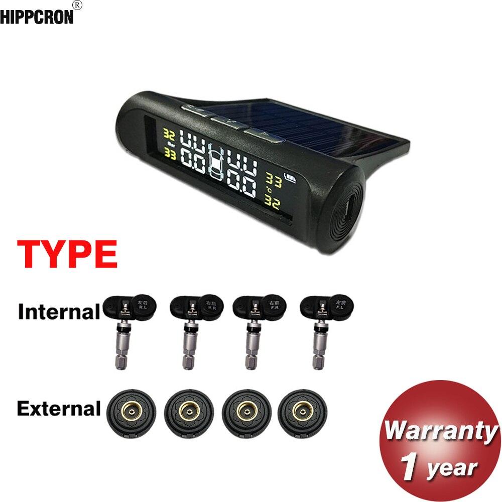 Hippcron Tire Pressure Alarm Sensor Monitor System Internal / External Tpms Car Display Temperature Warning Solar Power Charging