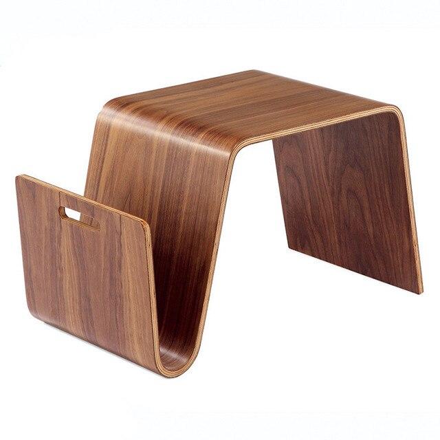 Madera curvada madera mediados de siglo diseño moderno mesa final ...